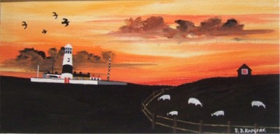 Tory Lighthouse painting by Patsy Dan Rodgers,Tory Island, County Donegal