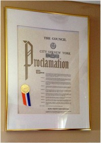 Proclamation of the City of New York awarded to Patsy Dan Rodgers