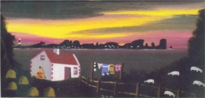 Sunset over Tory painting by Patsy Dan Mac Rua�ri, R� an o�leain, Tory Island Artist, Donegal, Ireland