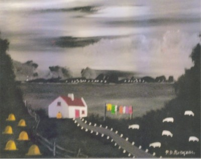 Tory View at Night painting by Patsy Dan Mac Rua�ri, R� an o�leain, Tory Island Artist, Donegal, Ireland