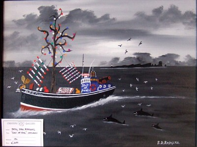 Ship of Fools painting by Patsy Dan Rodgers,Tory Island Exhibited at Letterkenny, County Donegal