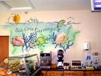 The serving area of Bia Cois Farraige showing wall mural