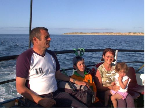 A family enjoying their day out on the Tory Island Ferry