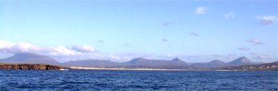 View from Tormór Ferry at it approaches Magheroarty pier showing Muckish, the Aghlas and Errigal mountain